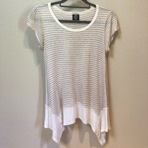 Bobeau Tan and White Striped Short Sleeve Top